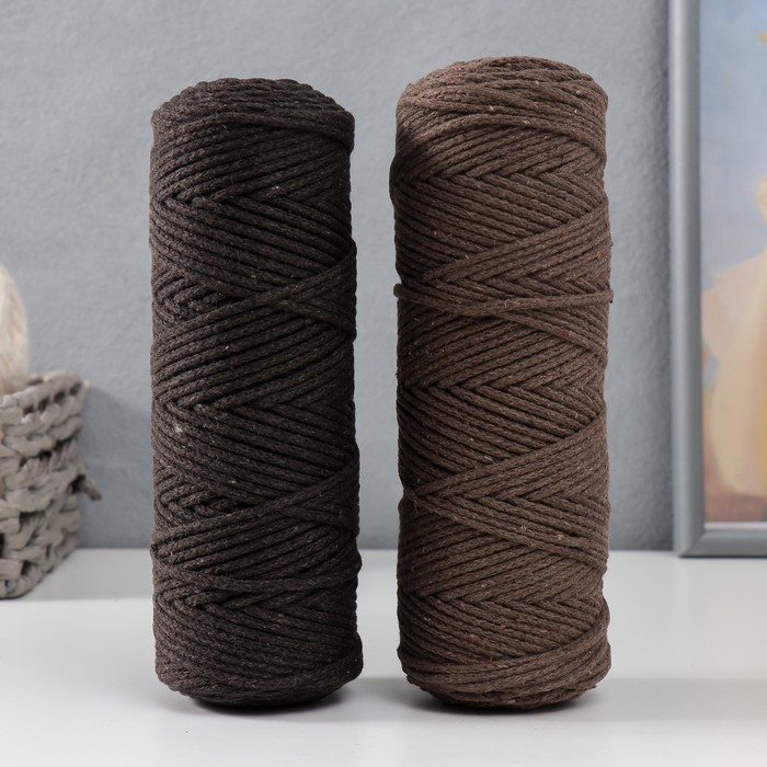 Шнур для вязания без сердечника 100% хлопок, ширина 3мм 100м/200гр (темно-коричневый)