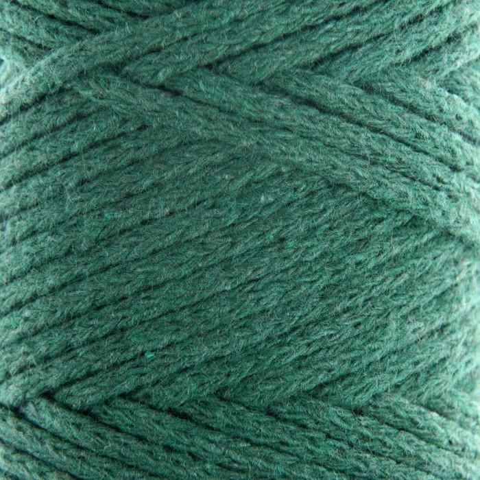 Шнур для вязания без сердечника 100% хлопок, ширина 3мм 100м/200гр (т.зелёный)
