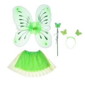 Карнавальный набор «Цветочек», 4 предмета: крылья, жезл, юбка, ободок, 3-5 лет