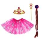 Карнавальный набор «Принцесса», 4 предмета: корона, жезл, коса, юбка, 3-4 года - фото 105446127