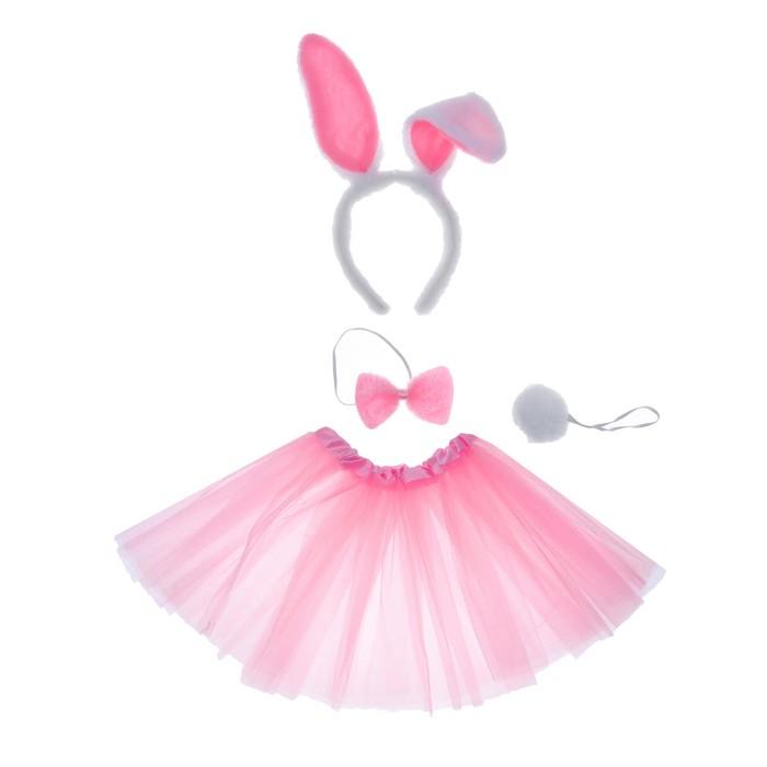 Карнавальный набор «Зайка», 4 предмета: юбка, ободок, бабочка, хвостик 3-5 лет - фото 105446133