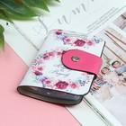 Визитница «Цветы», вертикальная, 1 ряд, 24 кардхолдера, цвет розовый