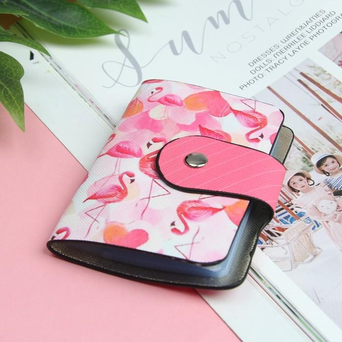 Визитница «Фламинго», вертикальная, 1 ряд, 24 картхолдера, цвет розовый