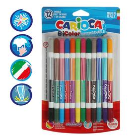 Two-sided felt-tip pens 24 colors / 12 pieces Carioca BiCOLOR 1-4.7mm, blister 42265.