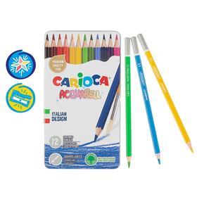 Карандаши акварельные 12 цветов Carioca Acquarell 3.3 мм шестигранные матовые, металлическая коробка