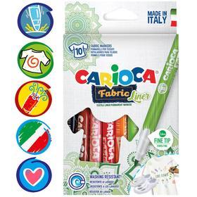 """Фломастеры для ткани 10 цветов Carioca """"Fabric Liner"""" 2.6 мм, картон, европодвес"""