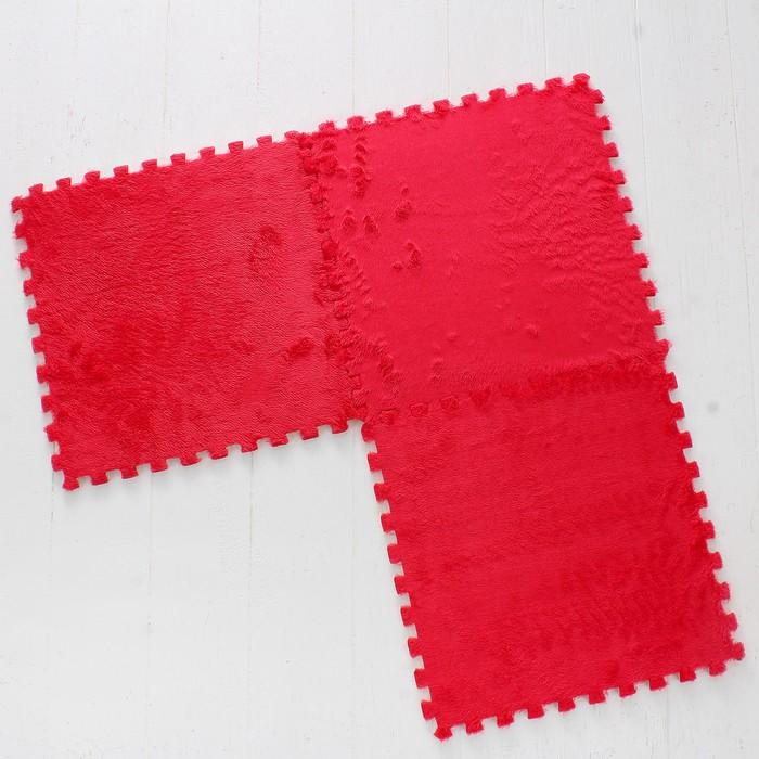 Коврик-пазл с искусственным мехом, розовый, 9 шт. в наборе, сегмент: 31 × 31 см