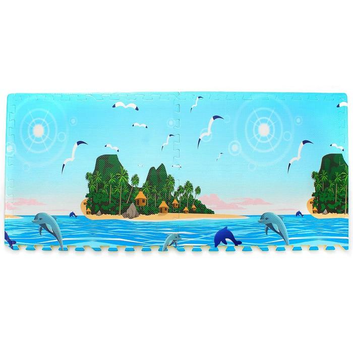 """Коврик-пазл """"Море"""", 60.5 × 60. 5 см., 4 шт. в наборе, толщина:1 см"""