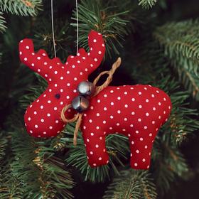 Новогодняя ёлочная игрушка, Набор для создания подвески из ткани «Олень с бубенцами», цвет красный