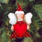 """Новогодняя ёлочная игрушка, Набор для создания подвески из фетра """"Ангел с сердцем"""""""