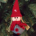 """Новогодняя ёлочная игрушка. Набор для создания подвески из фетра """"Девочка в шапочке"""""""