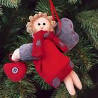 """Новогодняя ёлочная игрушка, Набор для создания подвески из фетра """"Ангелочек с сердцем"""""""