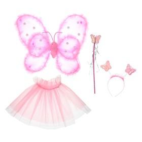 Карнавальный набор «Фея», 4 предмета: крылья, жезл, юбка, ободок, 3-5 лет