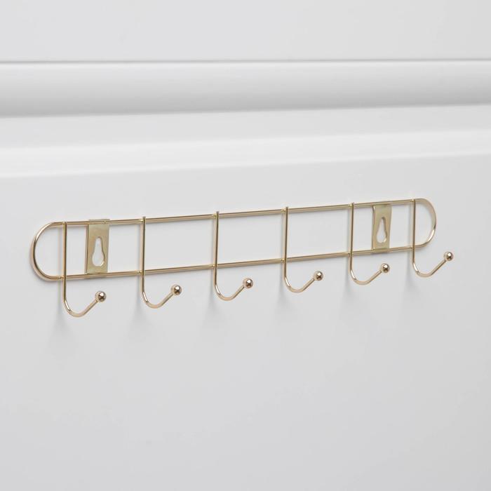 Вешалка настенная на 6 крючков «Лайт», 35×5×4 см, цвет золото - фото 4641505