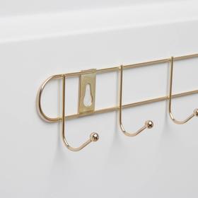 Вешалка настенная на 6 крючков «Лайт», 35×5×4 см, цвет золото - фото 4641507