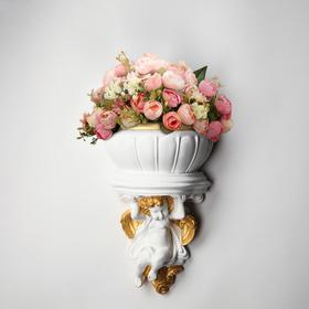 """Кашпо """"Ангел"""", бело-золотистый цвет, 18 х 19 см"""