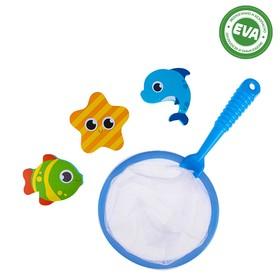 "Bath toys ""Sea friends"" stickers from EVA 3 piece + net"
