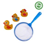 Игрушки для купания «Утиная семья»: наклейки из EVA, 3 шт. + сачок