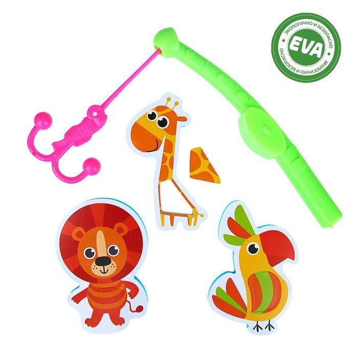 Набор игрушек для ванны «Африка»: наклейки из EVA, 3 шт. + удочка