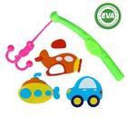 Набор игрушек для ванны «Транспорт»: наклейки из EVA, 3 шт. + удочка