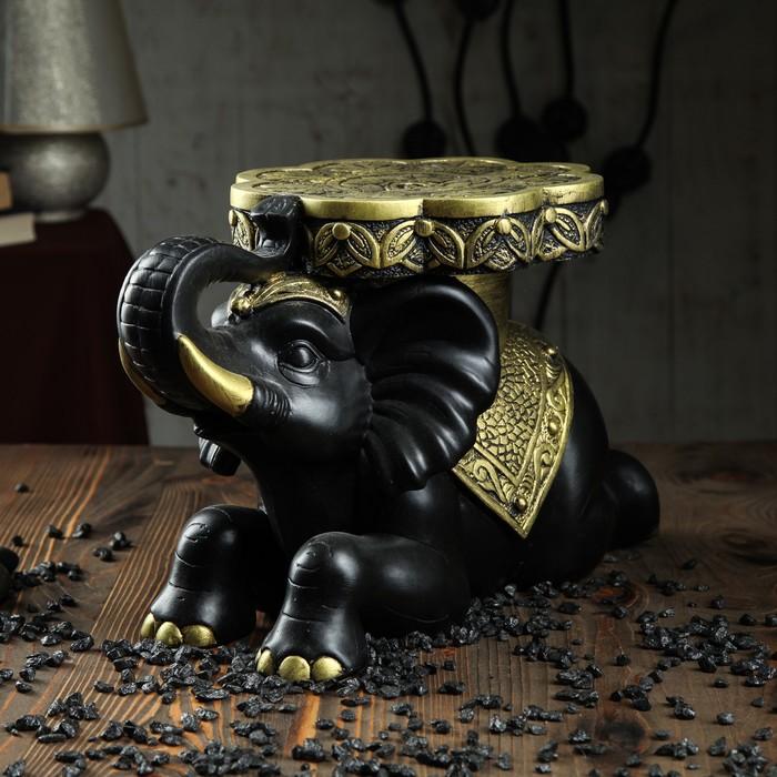 """Подставка напольная """"Индийский слон"""" чёрный с золотом, 26 см"""