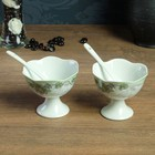 Набор: креманки 2 шт. 10 × 8,5, 0,2 л, ложки 2 шт. 12 × 2 см, каменная керамика