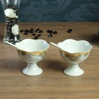 Набор креманок с ложками, креманки 2 шт 10×8.5, 0,2 л, ложки 2 шт 12×2 см, каменная керамика   38890