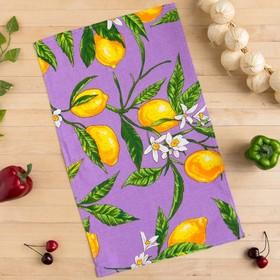 Полотенце вафельное Collorista Лимоны, цвет сиреневый 35х58,100% хл,160 г/м²