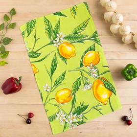 Полотенце вафельное Collorista Лимоны, цвет оливковый 35х58,100% хл,160 г/м²