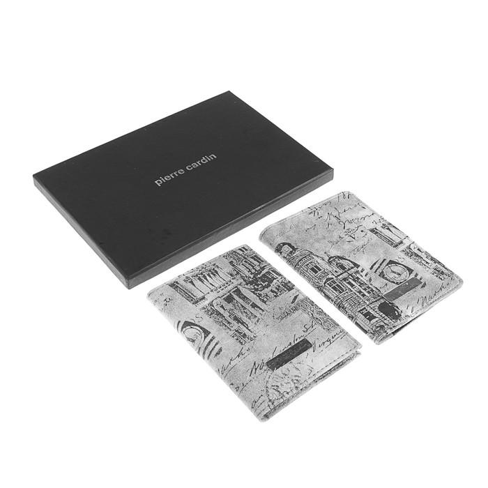 Набор: обложка для паспорта и водительских документов Pierre Cardin Vintage, кожзам, серый