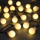 """Гирлянда """"Нить"""" с насадками """"Шарики Белые"""", 5 м, LED-30-220V, 8 режимов, нить тёмная, свечение тёплое белое"""