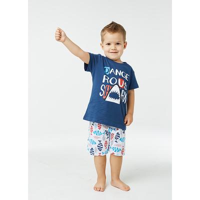 Пижама для мальчика, цвет синий, рыбки, рост 122-128
