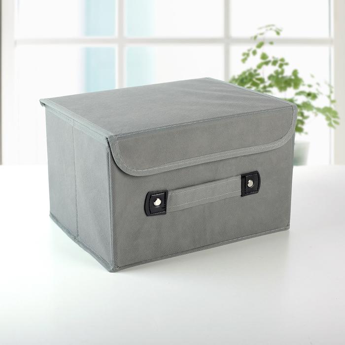 Короб для хранения с крышкой «Селика», 27×20×16 см, цвет серо-фиолетовый - фото 308331876