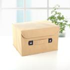 """Короб для хранения с крышкой 27×20×16 см """"Селика"""", цвет бежево-зелёный - фото 180125873"""