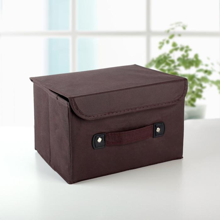 """Короб для хранения с крышкой 27×20×16 см """"Селика"""", цвет коричнево-зелёный - фото 203483295"""