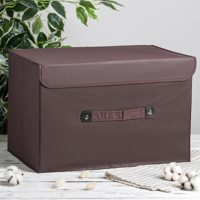 Короб для хранения с крышкой «Селика», 47×31×30 см, цвет коричнево-зелёный - фото 308331888