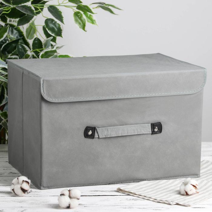 Короб для хранения с крышкой «Селика», 47×31×30 см, цвет серо-голубой - фото 308331896