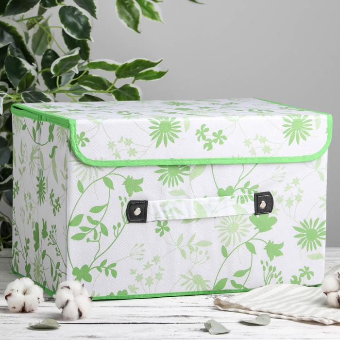 Короб для хранения с крышкой «Листочки», 38×25×25 см, цвет зелёный - фото 308331900