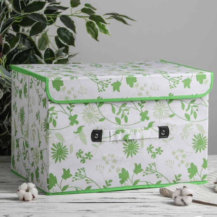 Короб для хранения с крышкой «Листочки», 47×31×30 см, цвет зелёный - фото 308331904