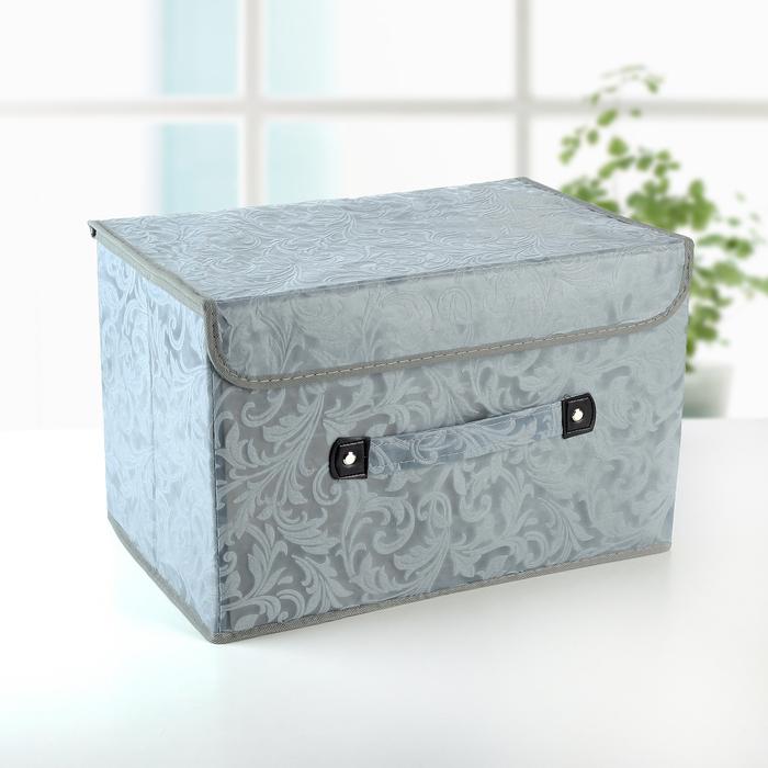 """Короб для хранения с крышкой 38×25×25 см """"Мотив"""", цвет серый - фото 187011825"""