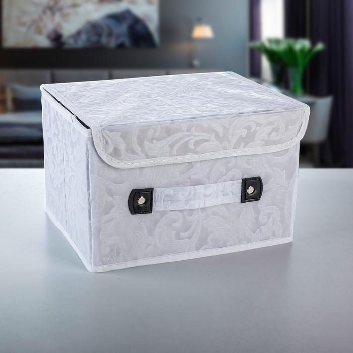 Короб для хранения с крышкой «Мотив», 27×20×16 см, цвет белый