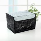 """Короб для хранения с крышкой 27×20×16 см """"Грация"""", цвет чёрно-серый - фото 234298145"""
