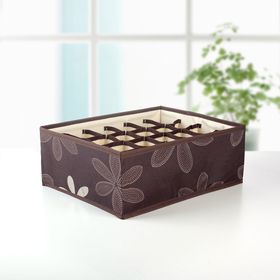 """Organizer for underwear 33×22×12 cm """"Leaves"""", 24 cell, color brown"""