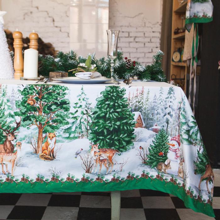 Скатерть «Этель: Новогодний лес», 220 × 148 см, 100 % хлопок, саржа, 190 г/м²