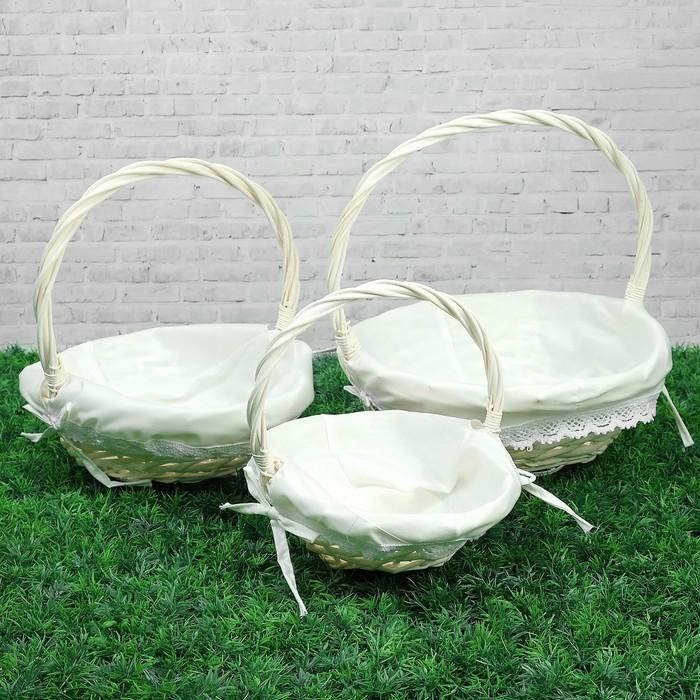 Набор корзин плетеных, ива, 34×27×13/29 см, 28×22×11/26 см, 24×18×9,5/21 см, 3 шт