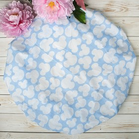 Простыня на резинке круглая, размер 75×75×12 см, мышонок голубой, бязь