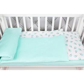 КПБ Baby Boom, размер 75х125 см, 112х147 см, 40х60 см, бязь, мороженки/мята