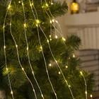 """Гирлянда """"Конский хвост (капля росы)"""", 15 серебристых нитей по 2 м, LED-300-6V-220V, свечение тёплое белое"""