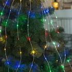 """Гирлянда """"Конский хвост (капля росы)"""", 15 серебристых нитей по 2 м, LED-300-6V-220V, свечение мульти"""