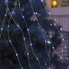 """Гирлянда """"Конский хвост (капля росы)"""", 15 золотистых нитей по 2 м, LED-300-6V-220V, нить прозрачная, свечение белое"""